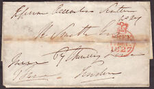 1827 PART LETTER EPSOM TO LONDON WITH FREE FRANK AND MILEAGE MARK