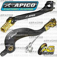 Apico Black Yellow Rear Brake & Gear Pedal Lever For Suzuki RMZ 250 2008 MotoX