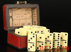 Chinese Traditional Wood Leather Pai Gow Game Box Collectable Handwork