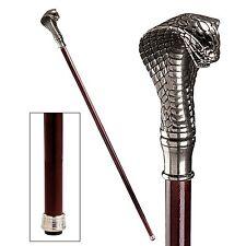 PA90106 - Cobra Pewter Walking Stick/Cane - Italian Pewter & Hardwood Shaft