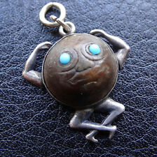 antique rare WWI SILVER wood touch wud Jellicoe navy man in moon lucky charm N35