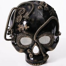 Steampunk Gold Skull Mask Gears Mens Adult for Halloween Industrial Costume