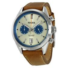 New Fossil Del Rey Chronograph Brown Leather Dress Watch 44mm CH2952 $155
