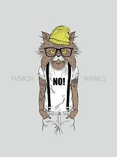 ART PRINT POSTER PAINTING DRAWING FASHION ANIMALS PROTESTER CAT COOL LFMP0615