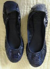 New--  Tory Burch navy reptile slippers--flats--Sz 9 M