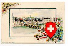 SUISSE SWITZERLAND canton BALE basel Joli carte gaufrée 1900 Rheinbrucke croix