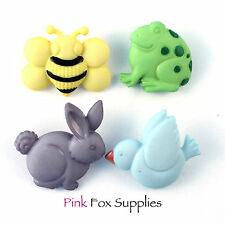 4pcs CHUNKY NATURE DRESS IT UP CRAFT BUTTONS RABBIT FROG BEE BIRD NOVELTY ANIMAL