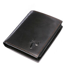 Men Genuine Cow Leather Tri-Fold Wallet Card Holder Coin Pocker Clutch Handbag