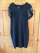 RHODES COLLETION LITTLE BLACK DRESS WITH SEQUIN SLEEVES - SIZE 12