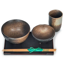 Zen Sabi Black Japanese Bowl Set