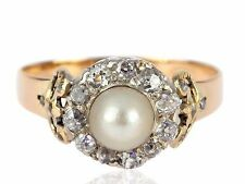 Art Deco Damen 585 Gelb Gold 950 Platin 0,60 ct Diamant Natur Perle Ring