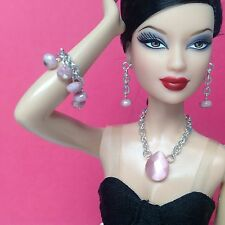 Doll Jewelry Barbie Silkstone Fashion Royalty silver & pink S510 for over age 14