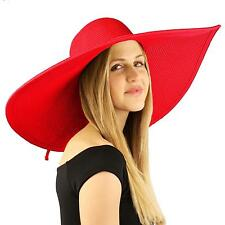 "Summer Elegant Derby Big Super Wide Brim 8"" Brim Floppy Sun Beach Pool Hat Red"