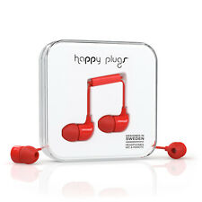 NEW HAPPY PLUGS EARBUD EARPHONES HEADPHONES WITH MIC & REMOTE - Red