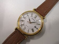 Y6 NOS Vintage Pulsar by Seiko Quartz Gold Leather Dress Watch Women's Ladies