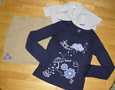 GYMBOREE FLOWER SHOWERS KHAKI SKIRT BLUE RAIN TOP BUTTON DOWN GIRLS 12 FALL