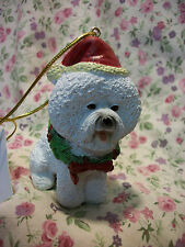 NEW DOG POODLE  SANTA RESIN ORNAMENT