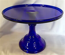 Cake Plate Pastry Tray Bakers Cupcake Stand Plain & Simple Cobalt Blue Glass 10""