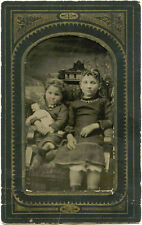 CIVIL WAR ERA - TWO LITTLE GIRLS WITH DOLL & ANTIQUE TINTYPE PHOTO
