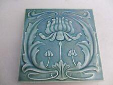 Original Art Nouveau Ceramic Tile Architectural Antique / Vintage Old Floral