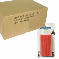 Full Box of 12 Self Adhesive Cohesive Bandage Elastic Support Roll Wrap Red 10cm