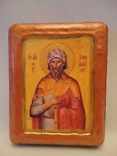 Saint Zachaios Zach Greek Orthodox Byzantine Rose Gold Prayer Icon on Wood