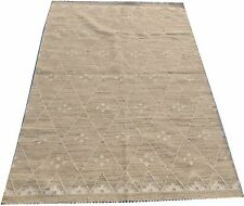 Hand Knotted Area Rugs Tribal Navajo Flat Weave Kilim Wool Ivory 5 X 8 Rug