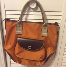 Lancel Authentic Nylon And Leather Orange Handbag EXCELLENT Pre-Owned CONDITION!