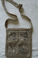 Ladies Crochet Lined Taupe Beige Shoulder  Bag Leather Satin Look Inserts