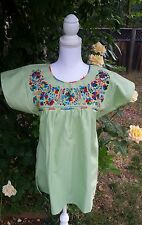 Mexican Blouse Puebla Peasant Embroidered Light Green Small, Mexican Blouses