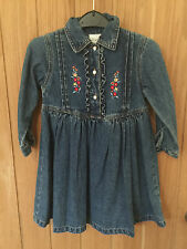 LADYBIRD  BLUE DENIM  DRESS AGE 2-3 YEARS , Embroidered Flowers, Frill Detail,