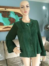 NWT Emerald Green Suede Leather And Sweater Jacket AMI Coat Woman's M Retail $86