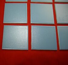 12 pieces...Vintage 4-3/8 inch; speckled baby blue  ceramic tile by Mosaic
