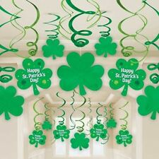 30 HAPPY ST PATRICK'S DAY PARTY SHAMROCK HANGING SWIRL DECORATIONS SHOP DISPLAY