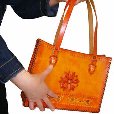 Genuine Leather Designer Handbag, Unique Pattern,OrangeRed.