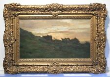 PIERRE EMMANUEL DAMOYE Oil Painting. House Trees Sunset Clouds 1883 France