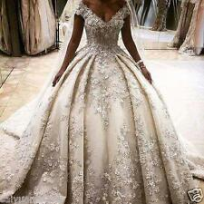 Luxury Appliqued Ball Gown Wedding Dress Court Train Cap Sleeve Bridal Gown 2017