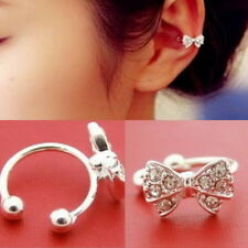 Fashion Korea Bowknot Bow Rhinestone Crystal Cuff Ear Bone Clip Earring A