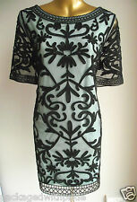 BLACK TEAL MONSOON SUMMER WEDDING TAPEWORK EMBROIDERED TUNIC DRESS RACES 16 £89