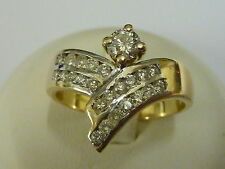 Ladies 9ct Gold Diamond Set Wishbone Ring - Size Q