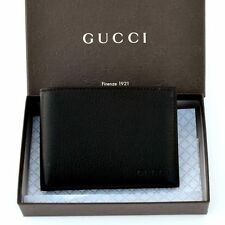 GUCCI New Authentic Designer Mens Logo Leather Bifold Wallet black 278596