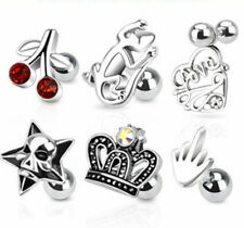 G#62 - 6pcs Assorted Design Stud 16g Tragus Rings Wholesale Body Jewelry