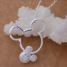 NEW DISNEY SILVER ZIRCONIA MICKEY MOUSE NECKLACE WALT WORLD JEWELRY MINNIE TRIP
