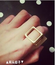 New Charm Fashion Hot Sale Golden Solid Rubik Cube band Box Finger Ring Size 7