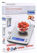 Silver Crest Küchenwaage mit beleuchteter LCD-Anzeige für grammgenaues Wiegen