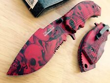 "Tac Force ""Red Skull"" Spring Assisted Opening Pocket Knife Blade Glass Breaker"