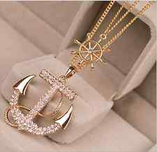 Fashion Women Lady Alloy Diament Anchors Rudder Sweater Chain Necklace Pendant