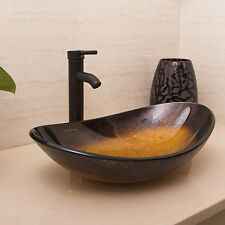 Bathroom Oval Glass Vessel Sink W/ Oil Rubbed Bronze Faucet &Chrome Pop-up Drain