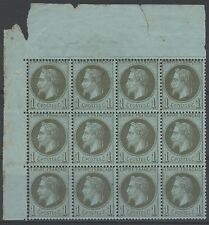 """FRANCE  STAMP TIMBRE 25 """" NAPOLEON  III 1c BRONZE BLOC 12 """" NEUF xx A VOIR  N355"""