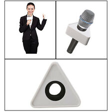 White ABS Plastic Microphone Interview Triangular Logo Flag Station Durable